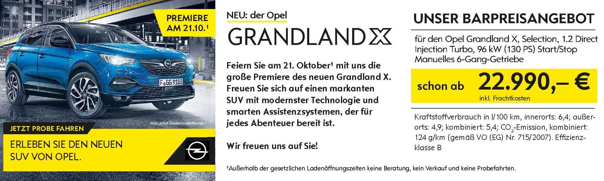 Der Opel Grandland X, Premiere bei Ulmen am 21.10.1017